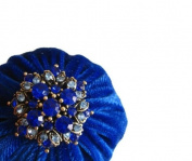 5.1cm Royal Blue Velvet Emery Pincushions - Keep Your Needles Clean & Sharp