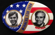 "Michael DUKAKIS & Lloyd BENTSEN Oval Political Pin Back Button ""WINNERS FOR 5050cm"