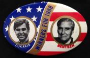 "Michael DUKAKIS & Lloyd BENTSEN Oval Political Pin Back Button ""WINNERS FOR 5050cm"
