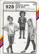 Stretch & Sew Pattern 928 ~ Girls' Stretch Pants & Skirt ~ Hip 22-32