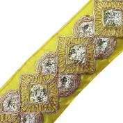 Yellow Base Fabric Trim Sequin Acrylic Thread Border Sari Lace Sewing Craft Apparel Sewing Craft 1 Yard