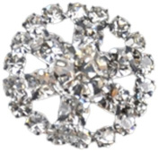 Rhinestone Button BRB-112 , 1.9cm Silver Resin Base Button, Each Carded