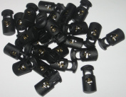 100 count Small Black Oval Ellipse Barrel Cord Locks Toggles