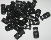 100 count Small Black Oval Ellipse Barrel Cord Locks Toggles