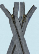 "90cm Jacket Zipper YKK #13cm 2-way"" Antique Brass ~ Separating~ YKK Colour 578 Medium Grey"