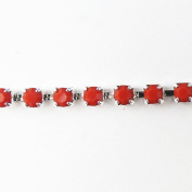 Mode Beads SS12 Silver Rhinestone Cup Chain, 1m, Coral