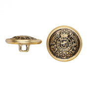 C & C Metal Products 5030 Heraldic Metal Button, Size 45 Ligne, Antique Gold, 36-Pack