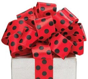 Red Satin Ribbon Black Polka Dots Wired Edge 20 yard roll