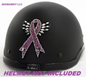 #1113 Pink Breast Cancer Ribbon Awareness Rhinestone Helmets Bling Sticker 3m Peel Stick Helmet Patches H & d Harley Davidson Half Shell Helmet Sticker Patch