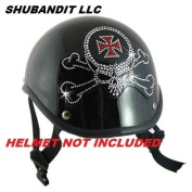 #1103 Skull and Cross Bones Rhinestone Helmets Bling Sticker 3m Peel Stick Helmet Patches H & d Harley Davidson Half Shell Helmet Sticker Patch