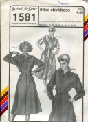 Stretch & Sew Pattern 1581 ~ Fitted Shirtdress ~ Bust 30-46