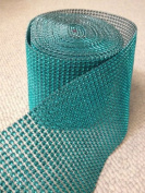 Turquoise/Teal Rhinestone Embellishment - Diamond Crystal Sparkling Effect Mesh Ribbon - Add that Elegant Touch At Your Weddings or Special Events - 5 Ft