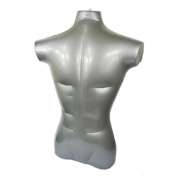 NAVA 1Pcs Silver Pvc Plastic Male Half Body Inflatable Mannequin Dummy Torso Model