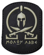 """""""Molon Labe"""" PVC Rubber hook and loop IFF Patch - Black / Grey"""