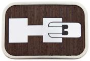 Hummer H3 Logo Wood Silver Framed Official Licenced Belt Buckle