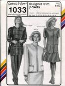 Stretch & Sew Pattern 1033 ~ Ladies' Designer Trim Jackets ~ Bust 30-46