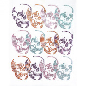 Rhinestone Transfer Hot Fix T-shirt Clothing Crafts Cushion Multi-colour Skull Deco Design 1 Sheets 7.8 * 25cm