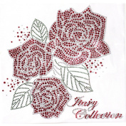 Rhinestone Transfer Hot Fix T-shirt Clothing Crafts Cushion Red Roses Beautiful Design 1 Sheets 9.4* 27cm