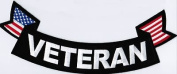 VETERAN Rocker VET Patch With Flags Military Embroidered Biker Vest Back Patch!!