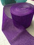 Purple Rhinestone Embellishment - Diamond Crystal Rhinestone Sparkling Effect Mesh Ribbon - Elegant Addidtion For Your Wedding/Special Event - 5 Ft