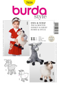 BURDA STYLE 7038 STUFFED ANIMAL DOLLS - 35cm DONKEY / BURRO, 30cm SHEEP SEWING PATTERN