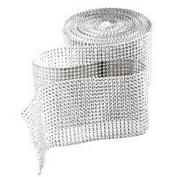 Silver Rhinestone Embellishment - Diamond Crystal Rhinestone Sparkling Effect Mesh Ribbon - Elegant Addidtion For Your Wedding/Special Event - 5 Ft