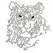 Rhinestone Transfer Hot Fix Motif Fashion Design Jewellery Cushion Crystal Tiger 3 Sheets 3.8*10cm