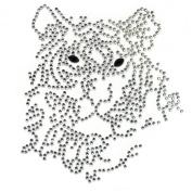 Rhinestone Transfer Hot Fix Motif Fashion Design Jewellery Cushion Crystal Tiger 3 Sheets 3.8*10cm