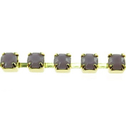 Mode Beads SS12 Gold Rhinestone Cup Chain, 1m, Violet