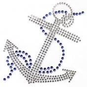 2013rhinestone Iron on Transfer Hot Fix Motif Crystal Fashion Design Anchor Blue 3 Sheets 3.3*11cm