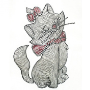 Rhinestone Transfer Hot Fix T-shirt Clothing Crafts Cushion Red Ribbon Cat Design 3 Sheets 5.1* 19cm