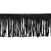 Chainette Fringe 10-Yard Polyester Fringe Rolls for Arts and Crafts, 5.1cm Long, Black