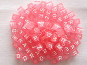 """Mixed Pink Alphabet /Letter """"A-z"""" Acrylic Cube Beads 6x6mm,100 Pieces"""