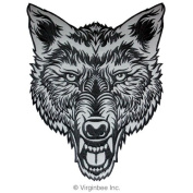 LARGE WOLF HEAD TATTOO INK ART EMBROIDERED PATCH REFLECTIVE LIGHT SIZE XL