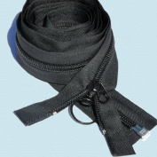 240cm Jeep Zipper ~ YKK Jeep Zipper #10 Coil with 2 Heads Coil Auto Slider & Ring Pull ~ Separating - Black