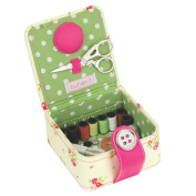 Button It - Floral Sewing Starter Kit with Green Polka Dot Lining