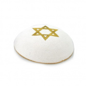 17 cm. White Wool Knitted Kippah with Gold Embroidering of Magen David