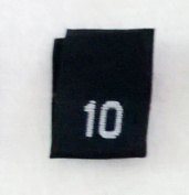 Size 10 (Ten) Black Woven Clothing Size Labels