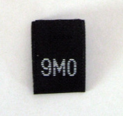 Size 9 mo (9 Month) Black Woven Clothing Size Tag