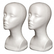 2PCs A1Pacific 33cm STYROFOAM FOAM MANNEQUIN head wig display hat glasses