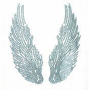Rhinestone Iron on Transfer Hot Fix Motif Lt Blue Angel Wings Decor Design 3 Sheets 5.1* 14cm