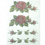 Rhinestone Transfer Hot Fix T-shirt Clothing Crafts Cushion Rose Vine Design 1 Sheets 10* 35cm