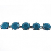Mode Beads SS29 Silver Rhinestone Cup Chain, 1m, Turquoise