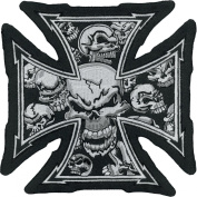 Lethal Threat Cross Skull Embroidered Patch LT30029