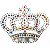 Rhinestone Transfer Hot Fix Motif Fashion Design Small Crystal Crown Colour Mix 3 Sheets 4.4*8.9cm