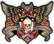 American Tradition USA Patriotic MC Club Motorcycle Biker BACK Patch LRG-0369