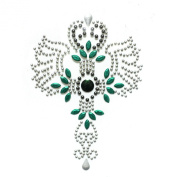 Rhinestone Iron on Transfer Hot Fix Motif Crystal Fashion Design Tattoos Green 3 Sheets 3.3*12cm