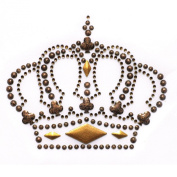 Rhinestone Iron on Transfer Hot Fix Motif Fashion Brown Crown Design 3 Sheets 3.9*8.1cm