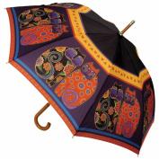 Laurel Burch Stick Umbrella 110cm Canopy Auto Open-Feline Family Portrait