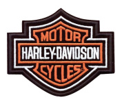 Harley Davidson Bar & Shield Patch (Orange) X X-large